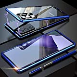 CeeDoo Clear Case for Samsung Galaxy Note 20 5G Magnetic Flip Cover with Camera and Screen Protector 360 Degree Full Body Protective Cover, Blue
