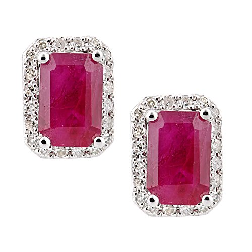 Naava Women's 18ct White Gold Ruby and Diamond Square Stud Earrings