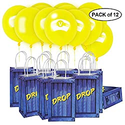 Fortnite Supply Drop Party Bags with Yellow Balloons