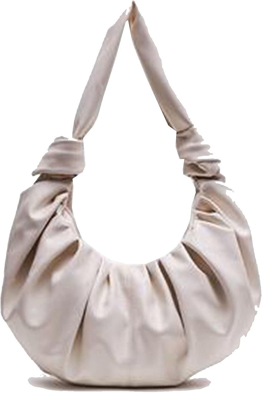 JSQWD Horn Fold Bag Ring Cloud Bag Ins Small Red Book Knot Dumpling Bag Soft Leather One-Shoulder Armpit Bag (Color : Off-White)