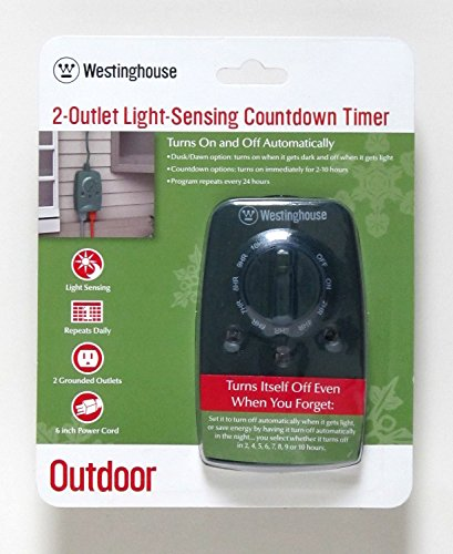 Outdoor Outlet Timer for Christmas Lights - Westinghouse 2 Outlet Light-Sensing Countdown Timer