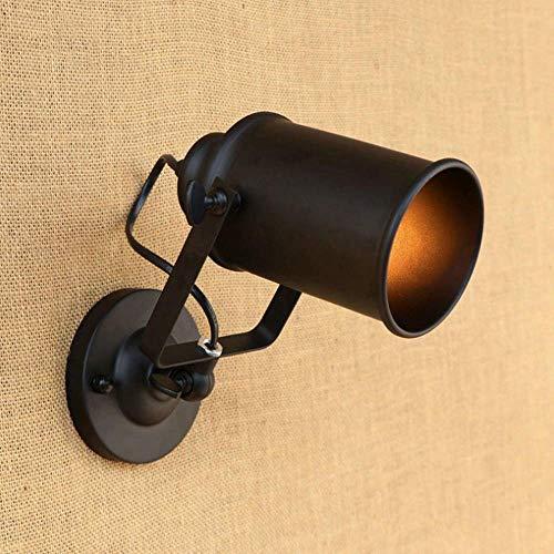 Brazo oscilante industrial Aplique Luz ajustable Lámpara de pared Retro Hierro forjado Focos de pared flexibles Brazo con pantalla de metal color óxido, Edison Socket E27 (Color : Black)