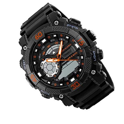 Personalidad deportes reloj de pulsera digital inteligente con la correa de cuero de múltiples funciones del reloj impermeable demostración del doble del diseño del reloj de la oficina de Or