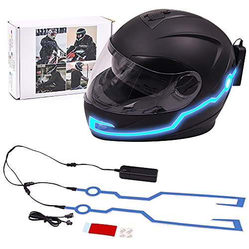 YnGia Motorcycle Helmet Light Wire Sticky Signal Light Strip for Night Riding Blue