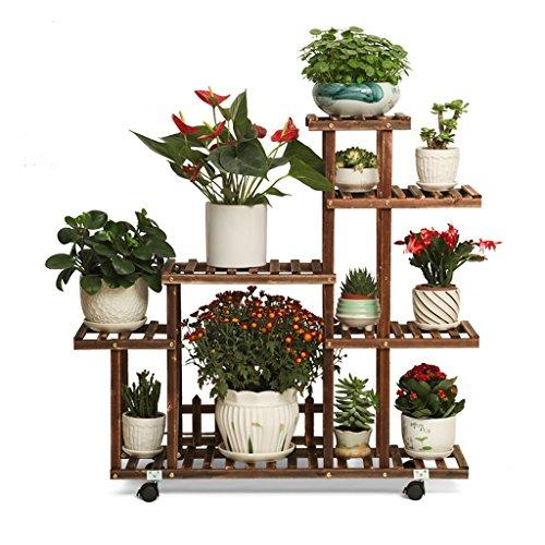 MLHJ NNIU- Antiseptique Solide Bois Fleur étagère Balcon Multi-étages Terrain Assemblée Pot de Fleurs Salon intérieur bonsaï 90 * 100 * 25cm