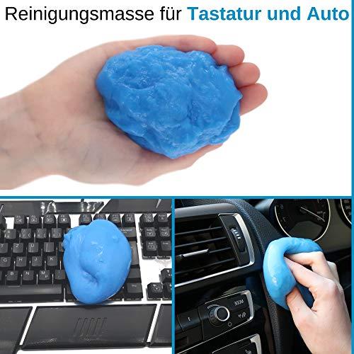 Universal Staubreiniger für Tastatur, Maus, Laptop, Handy, Auto Innenraum, universal verwendbar, wirkt anti-bakteriell, Reinigungsmasse Tastatur, Reinigungsgel Smartphone, Reinigungsknete Auto Lüftung