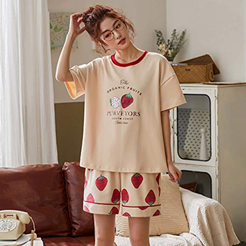 N/F Pijamas de Manga Corta de Servicio a Domicilio de algodón Puro a la Moda, Conjunto de Pijamas para Mujer, Pijamas de Dibujos Animados Bonitos, Pijamas Suaves Rojos