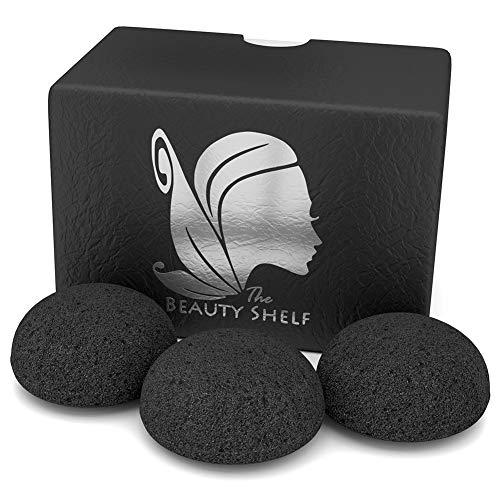 Isuper Belleza Konjac Esponja bambú activado Charcoa hemisférica forma de esponja de limpieza exfoliante facial de belleza Esponjas para hombre de las mujeres 3pcs