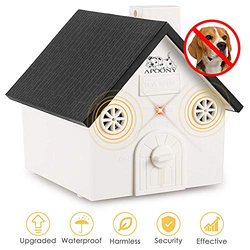 APoony Hund Ultraschall Anti Bellen Repeller mit Hängendem Seil Cute Haus Form Anti-Bellkontrolle Ultraschall-Anti-Bell-Stopp Antibell Trainer Im Freien (C101)