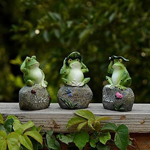 Takefuns - 3 statuette da giardino a forma di rana, per esterni, decorazione da giardino, in resina, per ufficio, cortile, patio, 12,7 cm