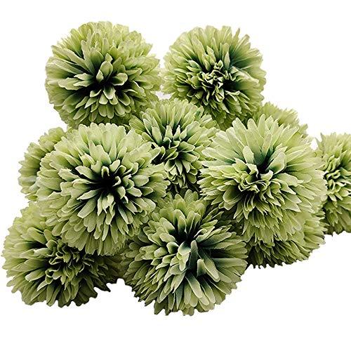 Aisamco 12 Piezas Flores de Bola de crisantemo Artificial con Tallos Arreglo de hortensias de Seda Ramo Flores Artificiales...