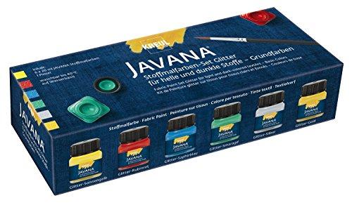 Kreul 92250 - Javana Stoffmalfarbe für helle und dunkle Stoffe, Grundfarbenset, brillante Farbe mit Glitzereffekt, pastoser Charakter, nach Fixierung waschbeständig, 6 x 20 ml Farbe und ein Pinsel