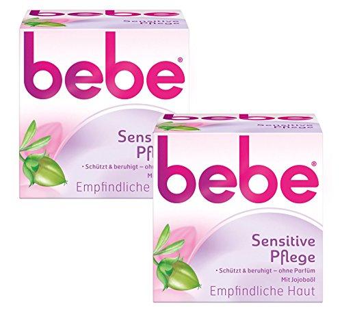 bebe Sensitive Pflege - Beruhigende Feuchtigkeitscreme für empfindliche Haut mit Jojobaöl - 2 x 50ml