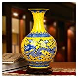 Jarrones Chino dragón Flor Hermosos Adornos cerámicos Antiguos ancestros Modernos Vintage Amarillo Esmalte Porcelana 36x22cm Florero