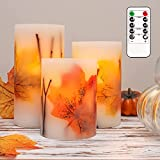 CRYSTAL CLUB Maple Leaves LED Candles, Set of 3, Battery Operated & Remote Control Real Wax Flameless Pillar Candles, Flickering Autumn Candle with Timer for Your Fall Decorations, Bay Window Décor