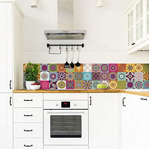 Cenefa auto-adhesiva | Decoración de pared cocina & baño, 5 m x 15 cm | MixColors