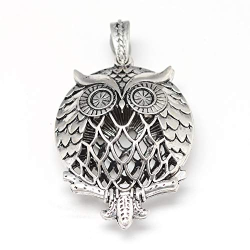 Fashewelry 10Pcs Antique Silver Owl Locket Pendants 47x35mm with Magnetic Closure for Aromatherapy Essential Oil Diffuser Pendant Necklace Jewelry Making