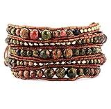 JKLJKL Bracelets Piedras Naturales con Perlas de Oro 5 Strands Tejido Pulsera de Envoltura de Cuero Pulseras Vintage Multi Capas Pulsera
