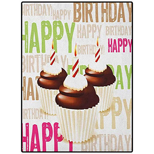 Birthday Print Kids Home Decor Rugs Cozy Soft & Plush Rug Grunge Retro Happy Birthday Pattern with Three Chocolate Cupcakes Candles Print Multicolor 72' x 24'