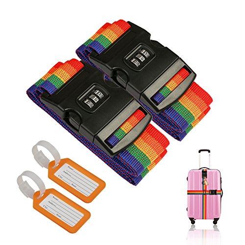 2 Pcs Sangles valises, ZoomSky Sangle à Bagage Voyage Réglable Ceinture Croisée avec Verrouillage à 3 Chiffres et 2 pcs Étiquette Bagage pour Sécurité des valises