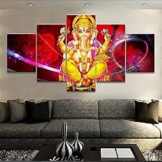HNFSCLUB Canvas Hd Print Painting Modular Picture 5 Pieces/Pcs Indian Elephant God Wall Art Poster Modern Home Decor Living Room Frameless 1mX2m