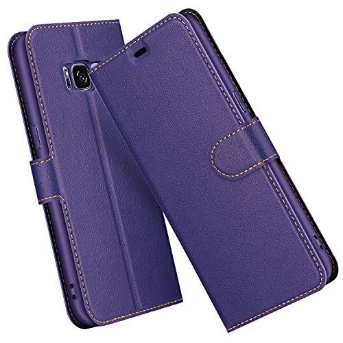 ELESNOW Cover per Samsung Galaxy S8, Flip Custodia in Pelle PU Premium per Galaxy S8 (Porpora)