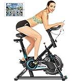 ANCHEER Heimtrainer,Indoor Cycling Bike Fitnessbike Riemenantrieb mit APP-Anschluss, Einstellbarer Widerstand,LCD-Monitor,Pad/Telefonhalter, Leise für das Cardio-Training im Fitnessstudio zu Hause
