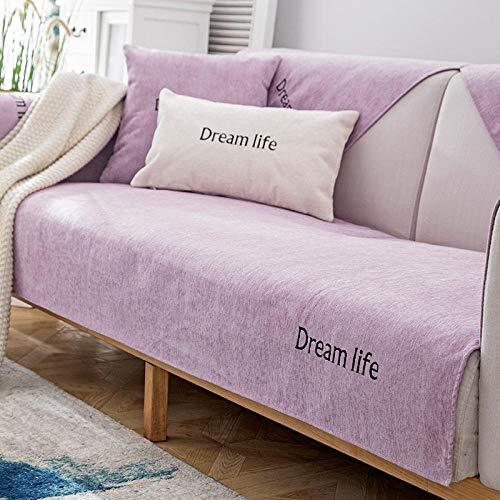 YUTJK Fundas de Almohada cuadradas Funda de sofá, Suaves para el sofá, el Dormitorio y el Coche,Puede ser Alfombra,Cubierta de sofá de Vida de Chenille Dream,Púrpura_70×90 cm
