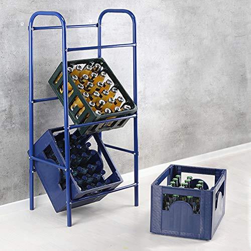 Praktischer Flaschenkastenständer Getränkekistenständer Kastenständer Regal in Blau für 3 Kästen