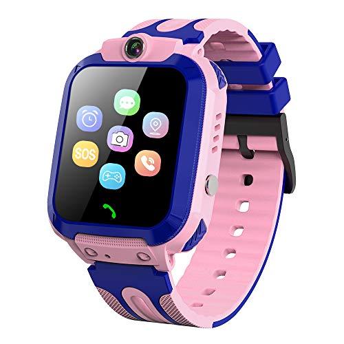 Vannico Kinder Smartwatch Telefon - IP68 wasserdichte Kids Smart Watch mit LBS Tracker SOS Voice Chat Kameraspiel Wecker Geschenk für Jungen Mädchen (Rosa)