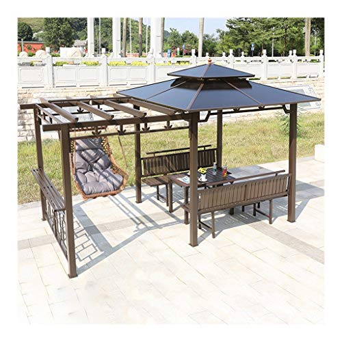 ASDDD Canopies, Gazebos & Pergolas Garden Gazebo, Patio Pavilion with Swing Chair and Desk, Villa Patio Tents and Canopy Gazebo, for Garden, Patio, Lawns, Parties Outdoor Gazebo,Villa Gazebo