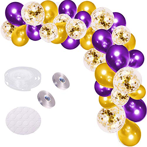 DIY Balloon Arch Garland Kit, 121Pcs 18inch Gold and Purple Party Balloons 12inch Gold Confetti Balloons Latex Balloons with Balloon Accessories for Baby Shower Wedding Graduation Party Decoration