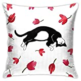 GULTMEE Decorative Printing Pillow case,Cute Kitty Sleeping Surrounded by Tulips Cat Animal Pet Lovely Creature Print,Square Cushion Covers for Home Sofa Couch 18x18 Inch