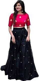 Nena Fashion Women's Satin Semi-Stitched Lehenga Choli (Black, Free Size)