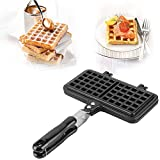 Old Fashioned Aluminum Alloy Stove Top Waffle Iron Mold Baking Pan Making Tool Maker Press Plate Kitchen