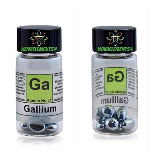 Gallium Metal Element 31 Sample Ga, Pure 5 Grams 99,997% Shiny pellets Inside Labeled Glass Vial