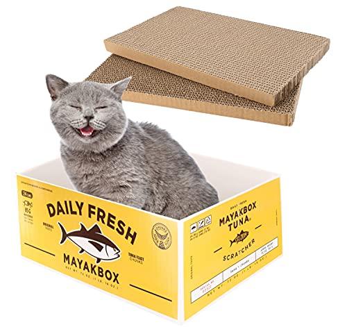 Idepet Tiragraffi per gatti, Tiragraffi per gatti Scatola per tiragraffi durevole in cartone Tiragraffi per gatti Premium Tiragraffi per gatti con erba gatta per gatti di taglia grande medio piccola