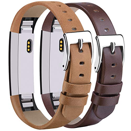 Tobfit Leather Bands Compatible with Fitbit Alta/Alta HR Bands, Genuine Leather Replacement Wristbands, (Tan+Coffee Brown, 5.5''-8.1'')