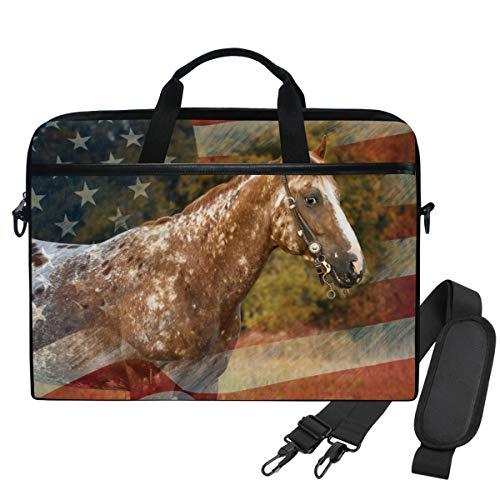 Emoya Laptop-Schultertasche, kompatibel mit 13-14 Zoll (33,3-35,6 cm), Vintage-Pferd, US-Flagge, Sonnenlicht