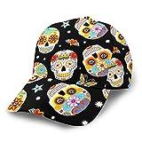 Gorra De Béisbol Tradicional Mexicano Sugar Skulls Gorras De Béisbol Unisex Snapback Flat Bill Hip Hop Sombreros/Sombrero Negro