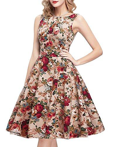 ihot Damen Tee Kleid 1950er Retro Cocktailkleid, Rockabilly Blumenmuster Abend Swing Party Faltenrock, S, Khaki