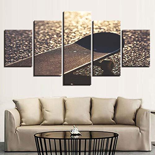 YUANSAHN canvasdruk Hd Prints Home Decor 5 stuks muurkunst nachtbed achtergrond skateboard afbeeldingen kunstwerk canvas schilderij creatieve poster