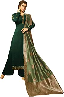 Indian Ethnic Green Silk Salwar Kameez Suit With Banarsi Jacquard Dupatta Palazzo Muslim Style Formal Party Wear 7179