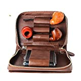 Men's Cigarette Cases, Leather Tobacco Smoking Wood Pipe Pouch Case/Bag Pipe Tool Lighter Holder Pocket for 2 Pipe King Size Cigarette case (Brown1)