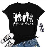 Women Friends Horror Halloween T-Shirt Michael Myers Jason Horror Scary Movies Gift Tee Shirt for (Black-01, S)