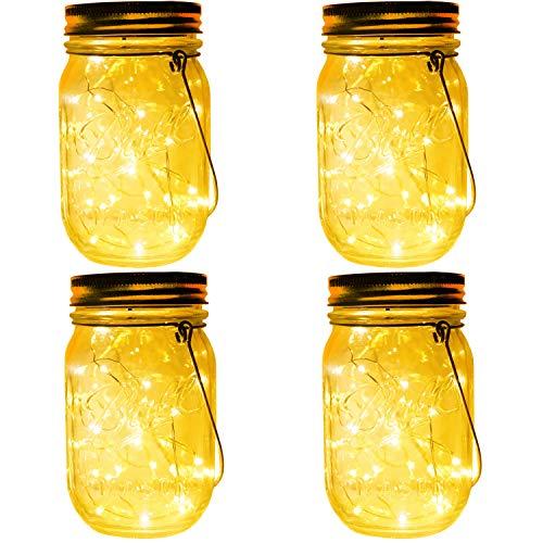 4-Pack 30 LEDs Solar Powered Mason Jar Lights, Watrproof Outdoor Hanging Led Fairy Firefly String Lights Lanterns,Best Patio Wedding Party Deck Garden Decor