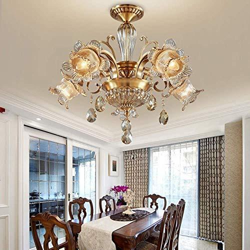 YANGQING Lámpara de araña de cristal de alta gama American Restaurant lámpara retro 56 * 70 cm