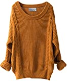 Liny Xin Women's Cashmere Oversized Loose Knitted Crew Neck Long Sleeve Winter Warm Wool Pullover Long Sweater Dresses Tops (Ginger)