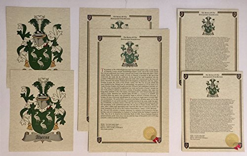 Medeiros - Last Name History and Coat of Arms from Portugal Print Set (2 Pack)