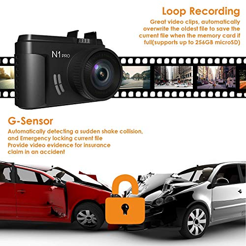 Vantrue N1 Pro Mini Dash Cam Full HD 1080P Dashcam for Cars 1.5' Car Dash Camera Video Recorder w/Sony Sensor, Super Night Vision, Parking Mode, G-Sensor & Collision Detection, Support 256GB Max